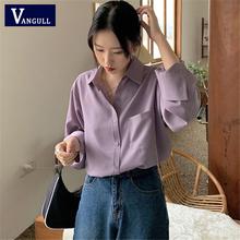 Vangull Vintage Purple koszule bluzki damskie jesień skręcić w dół kołnierz jednorzędowe koszule z długim rękawem bluzki damskie bluzka 2020 tanie tanio COTTON Poliester CN (pochodzenie) Wiosna jesień REGULAR Osób w wieku 18-35 lat Przycisk Pełna Na co dzień Suknem Stałe