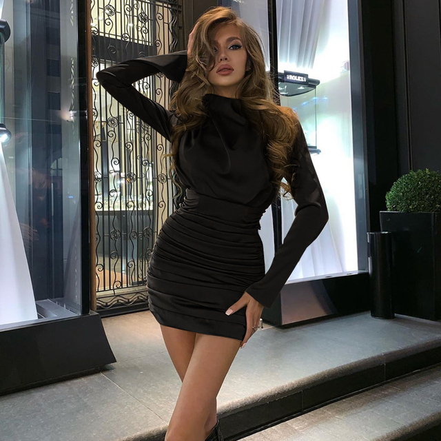 Long sleeve ruched pure sexy mini dress autumn winter women streetwear party outfits clubwear 3