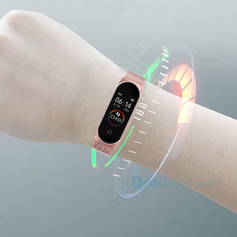 Đồng Hồ Thông Minh Dây Thép Không Gỉ Đồng Hồ Thông Minh Máu Áp IOS Android Smartwatch Hoạt Động Theo Dõi Sức Khỏe Cho Nam Và Nữ
