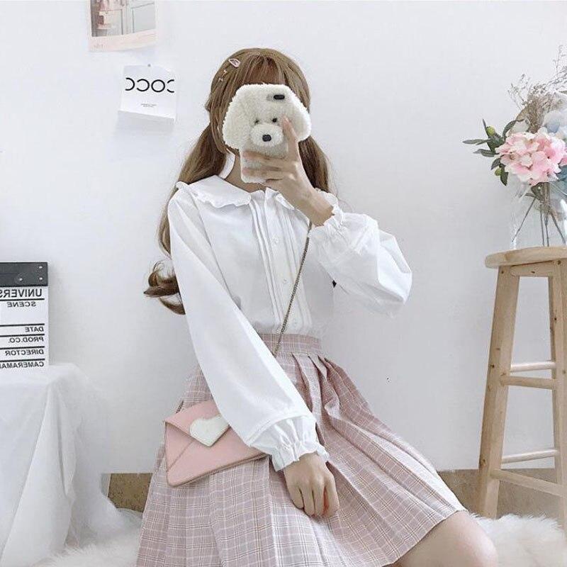 Fashion Peter Pan Collar Lolita Blouse Kawaii Long Sleeve White Shirt Lantern Sleeve Top Teen Preppy Style  School Girl Party