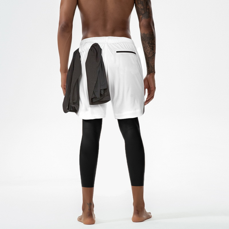 Men's 2 In 1 Shorts Pants Tights Pants Yoga Trousers Breathable Running Leggings Male Gym Sport Joggers Trousers Exercise Pants