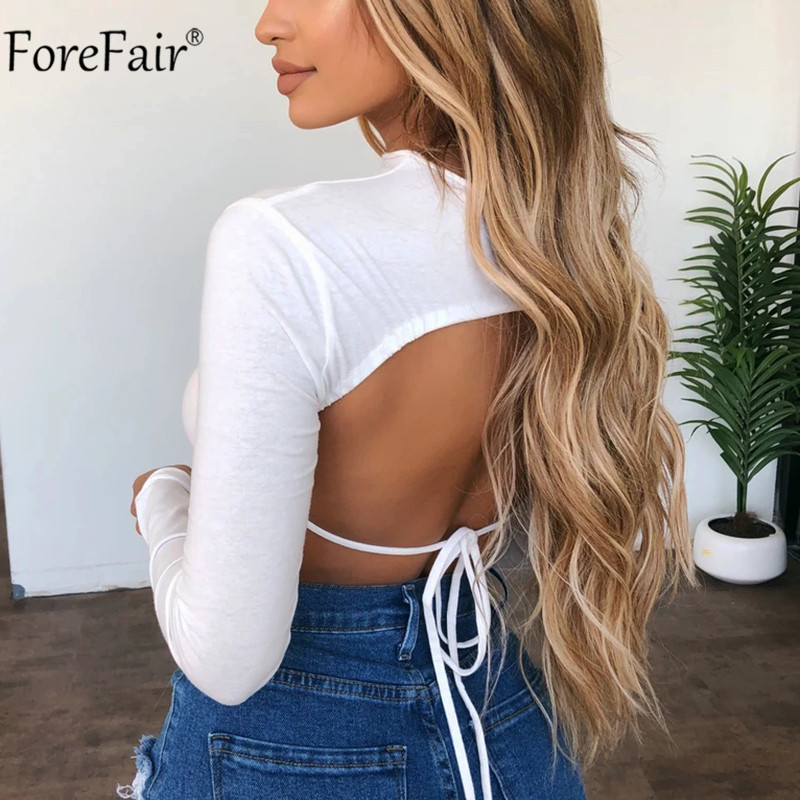 Forefair Turtleneck Long Sleeve Crop Top White Women Summer Clothes Bandage Sexy Shirt Ladies Black T Shirt Tee Pink