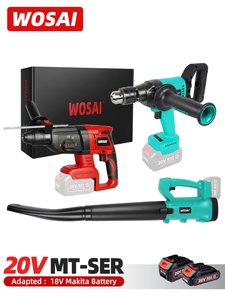 WOSAI MT-Series Cordless Electric Blower Brushless Impact Drill Hammer /For 18V Makita Battery