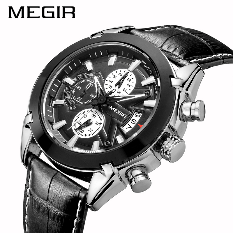 <font><b>MEGIR</b></font> Quartz Wristwatches Men's Wrist Watch Genuine Leather Strap Mens Wrist Watches Luxury Design Quartz Watch Male Gift image