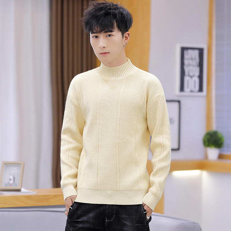 New Pink Gray Mens Sweaters Blue Beige Fashion Round Collar Long Sleeves Winter Leisure.men Sweater Casual Turtleneck Pullovers