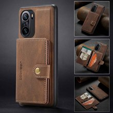 לxiaomi Poco F3 מקרה יוקרה להסרה כרטיס בעל כיסוי Folio מגנטי ארנק טלפון מקרה עבור Xiaomi Mi11i Redmi K40 פרו