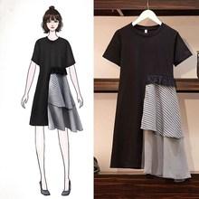 L-5XL Plus Size Vintage Patchwork Ruffle Plaid Dress Women Summer 2019 New Midi Dresses Short Sleeve A-Line Dress