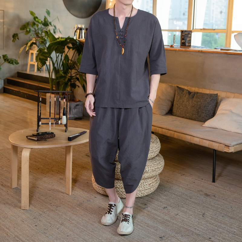Chinese-style Cotton Linen Set Men's Summer Two-Piece Set Korean-style Trend Flax Three-quarter Sleeve T-shirt Handsome Clothes