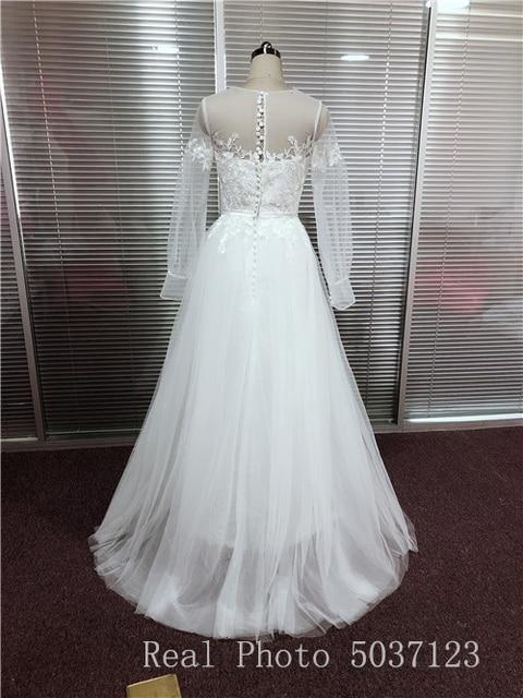 Sexy Sheer Neckline Wedding Dresses Bohemian Puff Long Sleeves Appliques Lace Wedding Gowns Buttongth Vestido De Noiva for Bride 5