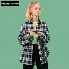 Metersbonwe Shirt Women'S Clothing Blouse 2020 New Spring Summer Trend personality Student Clothing Loose plaid shirt(China)