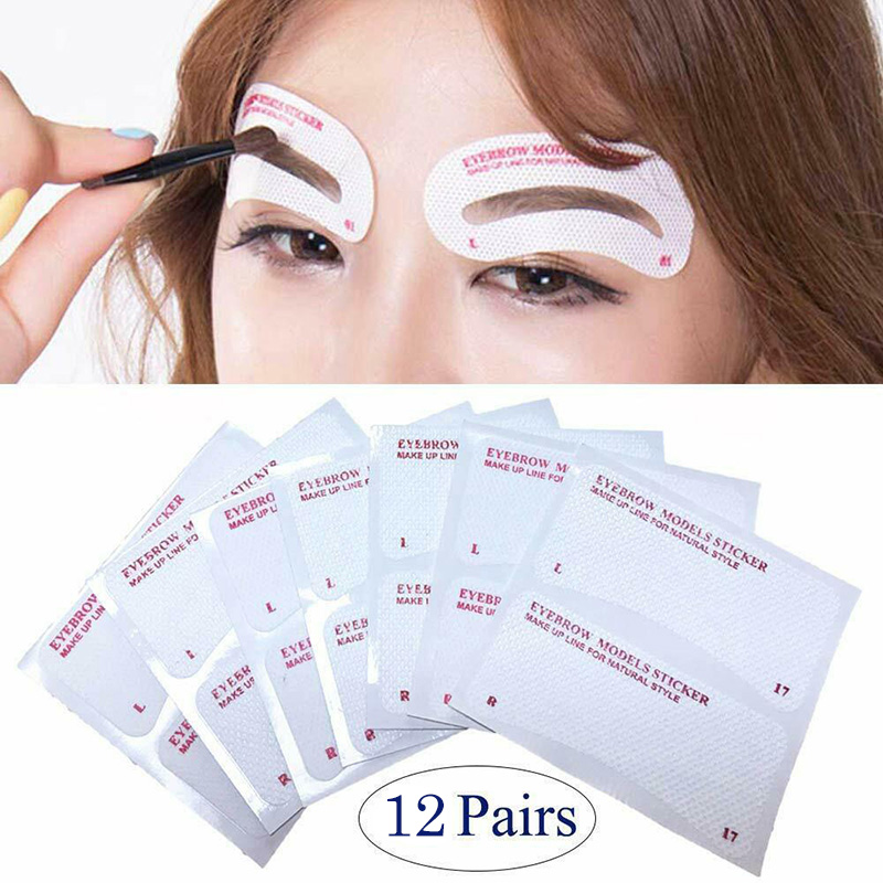 12 Pairs Eyebrow Stencil Stickers Eyebrow Drawing Card Template DIY Makeup Tools 88
