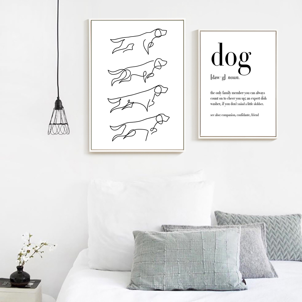 Dog Canvas Painting Minimalist Poster Quote Pictures Modern Wall Art Dog Line Drawing Prints Wall Painting Living Room Unframed image