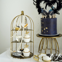 SWEETGO birdcage cupcake holders gold/silver storage racks for makeup/perfume/jewelry cake table sweet candy bar home decorating
