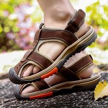 New Arrival Men Sandals Black Leather Beach Sandals Fpr Man Hook & Loop Men Flats Sandals Genuine Leather Mens Shoes Big Size 46 uexia 2018 new men sandals leather summer hook