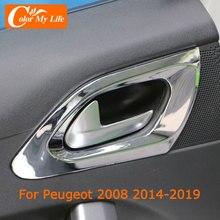 Kleur Mijn Leven Abs Chroom Binnendeur Kom Decoratie Cover Trim Voor Peugeot 2008 2014   2019 Binnendeuren Handvat cirkel Pailletten