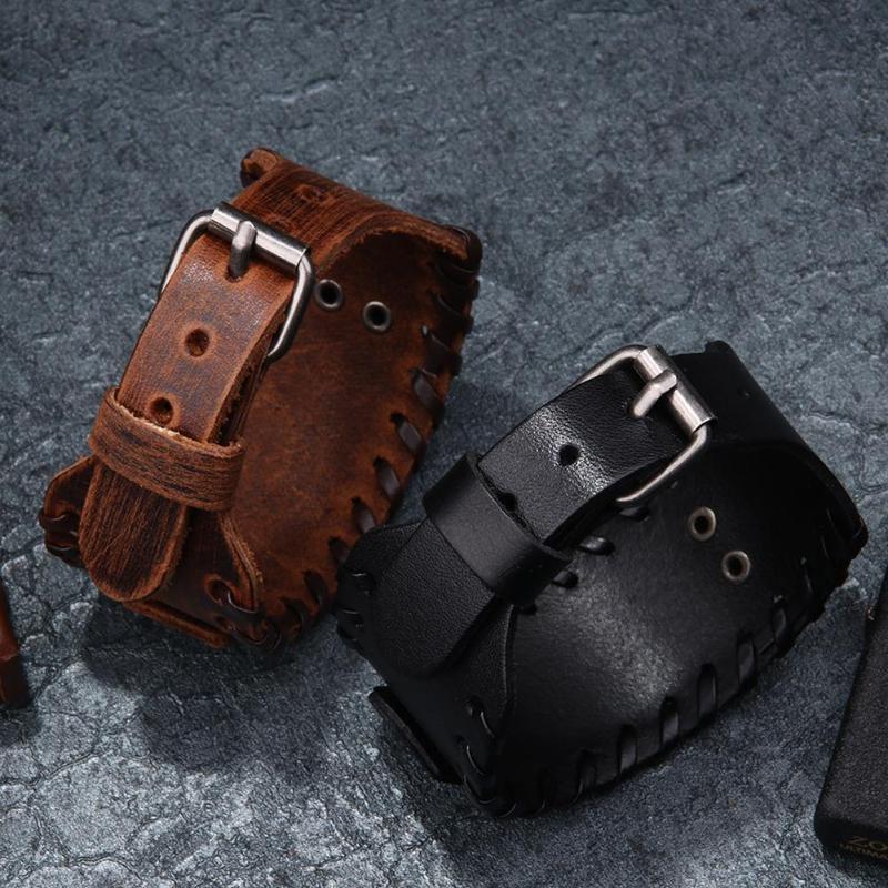 Bracelet large en cuir métal réglable Viking tête loup  5