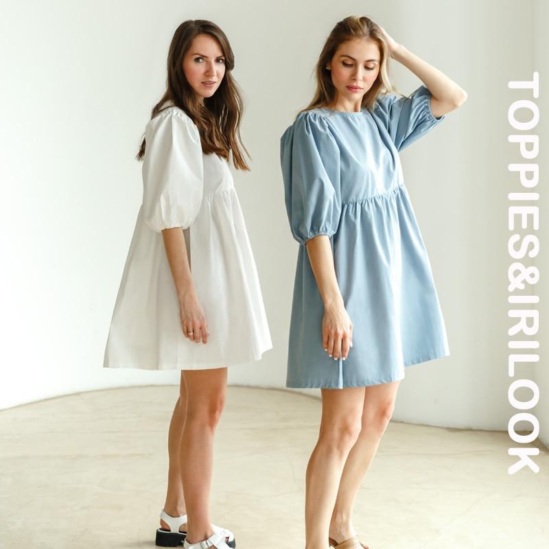 Toppies Babydoll Dress 100% Cotton Woman O neck Short Mini Dress Lantern Sleeve Blouses Female A line Ladies Dresses Summer 2021