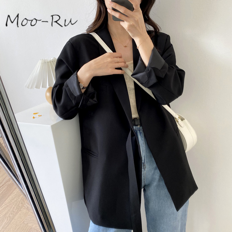 Moo-Ru 2020 Early Spring New Simple Sense Point ZAN Simple Wind Long Style Lace-up Suit Jacket Women