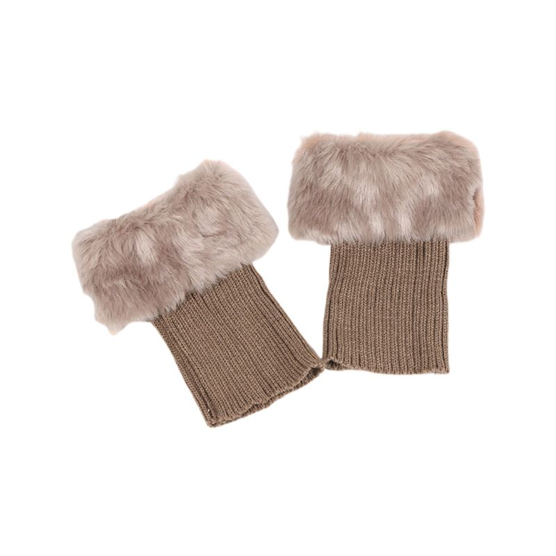 Womens Girls Winter Thicken Plush Boot Cuff Ribbed Knitted Short Leg Warmers Solid Color Crochet Gaiters Toppers Socks