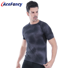 Acefancy respirável esporte topos para homens t camisa elástica para ginásio absort suor t camisa roupas esportivas masculino 71601 sportwear