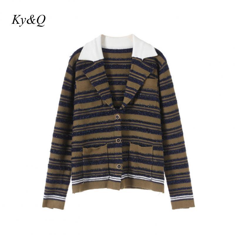 Runway Design Women Contrast Striped Bright Silk Lapel Vintage Cardigan Jacket Luxury Vintage Sweater 2020 Winter New Clothing