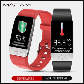 MAFAM T1 Smart Watch Band Temperature Measure ECG Heart Rate Blood Pressure Monitor Weather Forecast Drinking Remind men women 1