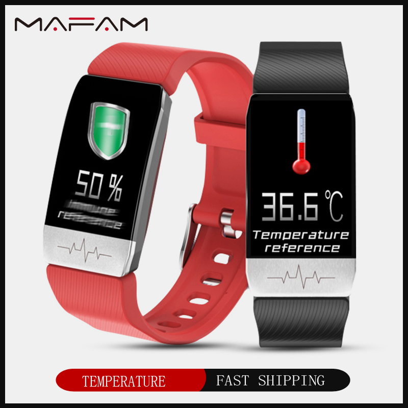 MAFAM T1 Smart Watch Band Temperature Measure ECG Heart Rate Blood Pressure Monitor Weather Forecast Drinking Remind men women