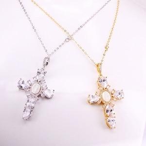 Image 2 - Трендовые позолоченные ожерелья с подвеской в виде креста с изображением Иисуса, колье с цепочкой