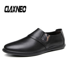 CLAXNEO Man Leather Shoes Slip on Casual Loafers Male Moccasins Genuine clax Mens Boat Shoe Flats Breathable