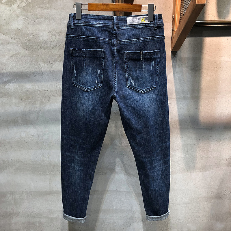 KSTUN Jeans Men Autumn and Winter Skinny Jeans Man Deep Blue Denim Pants High Stretch Top Quality