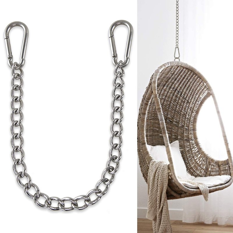 Adjustable Home Hammock Chain With Two Carabiners Garden Stainless Steel Indoor Outdoor Safety Hanging Chair Portable