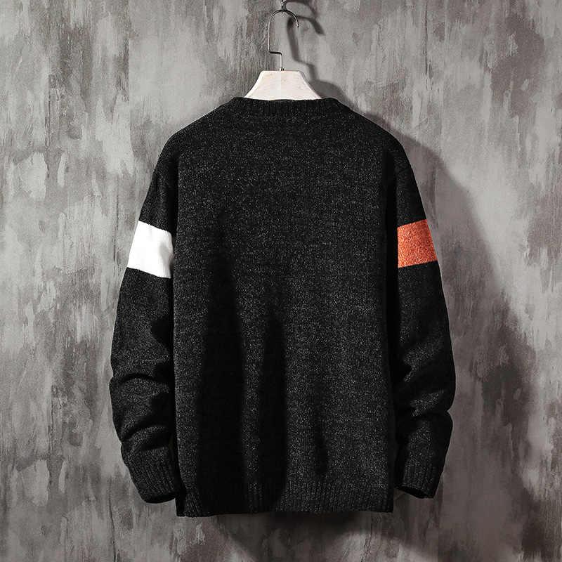 2020 Jersey nuevo de manga larga para hombre Otoño Invierno jersey tejido cuello redondo talla grande asiática 5XL
