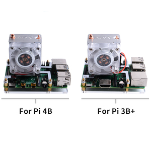Image 5 - Ahududu Pi 4B/3B/3B + ısı yutucular 52Pi buz kule soğutma fanı 40x40x10 v2.0 siyah süper ısı dağılımı 7 renk ışık
