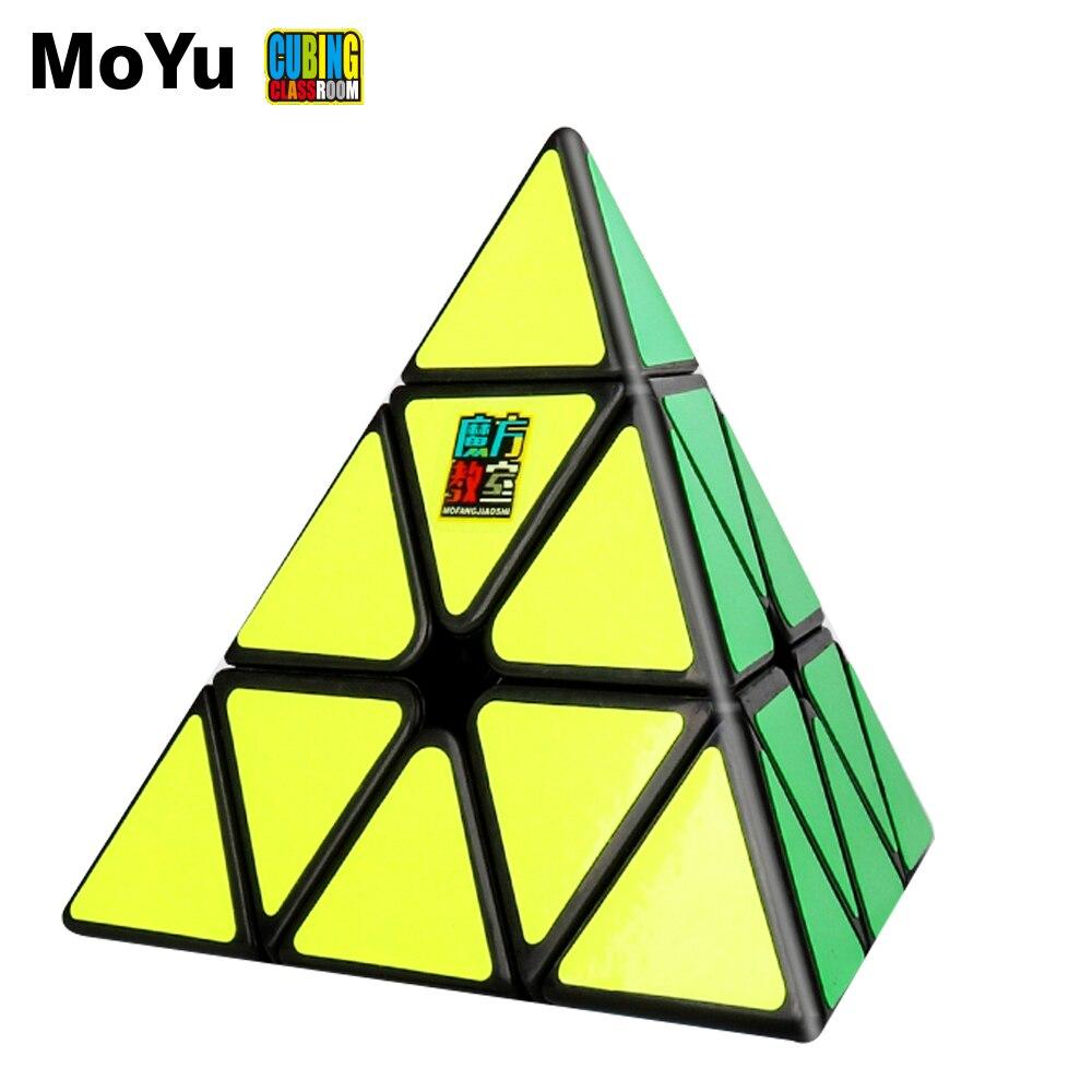 Moyu meilong 3x3x3 pirâmide cubo mágico mofangjiaoshi jinzita 3x3 cubo adesivos magico quebra-cabeça cubo presente crianças brinquedos para crianças