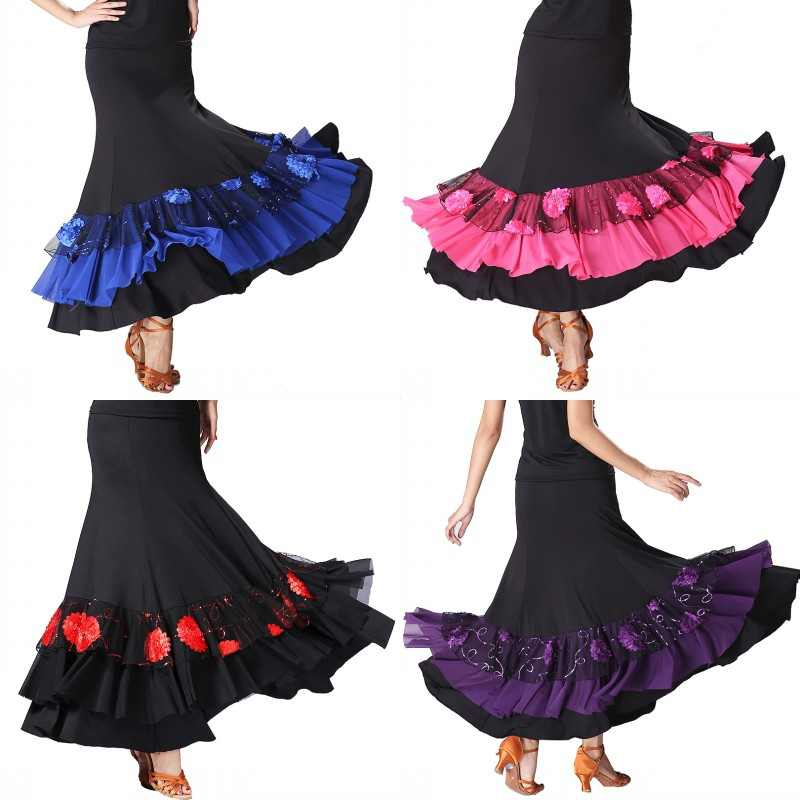 X Wanita Patchwork Payet Bordir Modern Tari Rok Ballroom Setengah Panjang Pendulum Praktek Acara Pertunjukkan Tari Rok