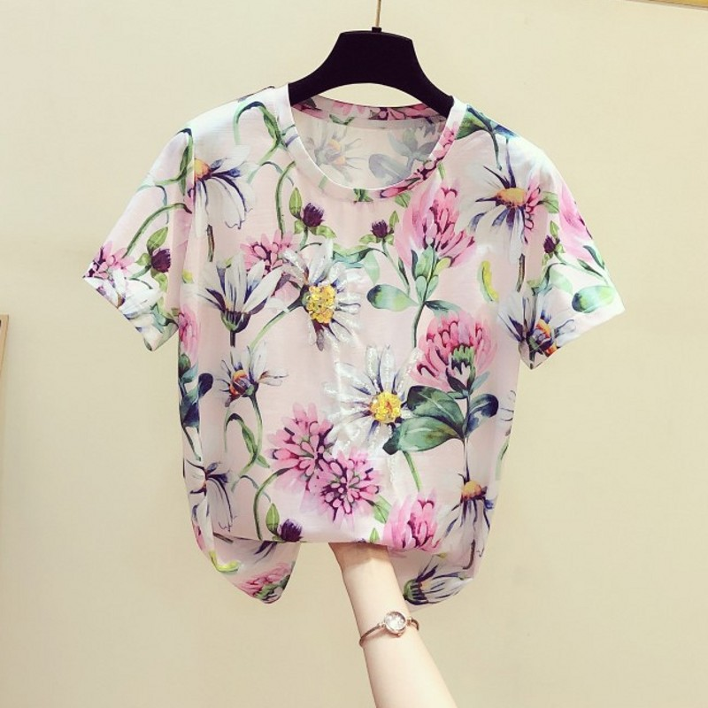 Fashion Beaded Flower Print T Shirt Women's Short Sleeve T-shirt Female 2020 Summer New Ins Casual Tops T Shirts Ladies Top