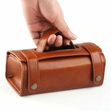 Bolsa de couro pu para homens, bolsa de higiene pessoal para viagem, barbear, lavar, organizador, bolsa marrom/preto
