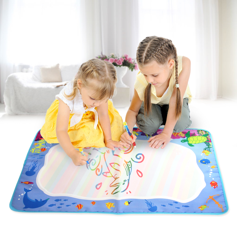 74*49cm Water Doodle Mat & 2 Magic Pens Drawing Mat Children Coloring Painting Board Early Educational Toys Gift For Kids