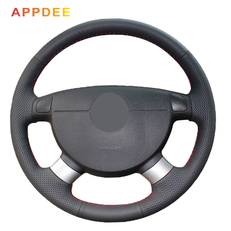 black Artific leather Steering Wheel Cover for chevrolet <font><b>aveo</b></font> LOVA buick Excelle daewoo gentra <font><b>2013</b></font> 2015 lacetti 2006 - 2012 image