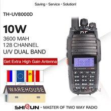 Tyt TH-UV8000D walkie talkie 10 km banda dupla vhf uhf 10w rádio comunicador 10 km 3600mah cross-band repetidor função tyt rádio