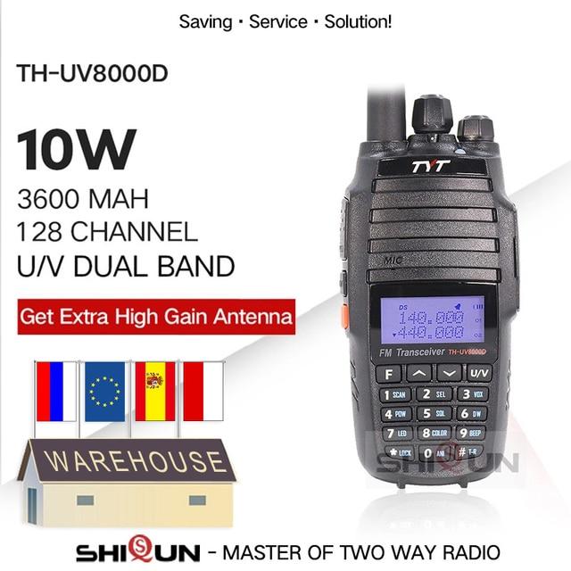 TYT TH UV8000D Walkie Talkie 10 KM Dual Band VHF UHF 10W Radio Comunicador 10 km 3600mAh Kreuz band Repeater Funktion tyt radio