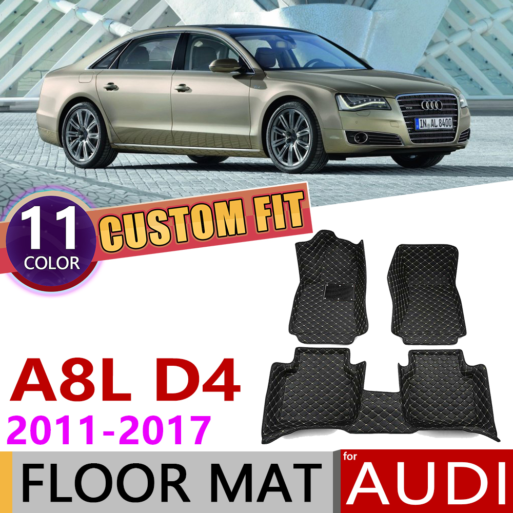Custom Car Leather Floor Mat for <font><b>Audi</b></font> A8L <font><b>A8</b></font> L D4 <font><b>4H</b></font> 2011~2017 4 Seats Auto Foot Pad Carpet Accessories 2012 2013 2014 2015 2016 image