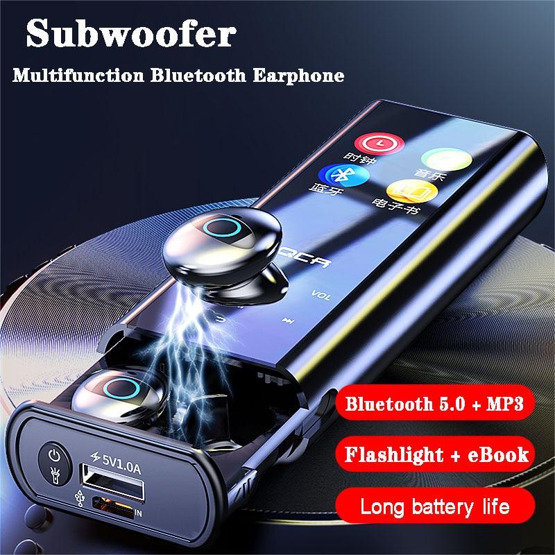 Q1 multi-fonction lecteur MP3 écouteurs sans fil Bluetooth écouteurs IPX7 étanche 9D TWS écouteur 3500mAh batterie externe