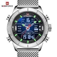 Naviforce Heren Horloge Luxe Merk Mannen Militaire Sport Horloges Quartz Digitale Analoge Dual Display Waterdicht Horloge Voor Mannen