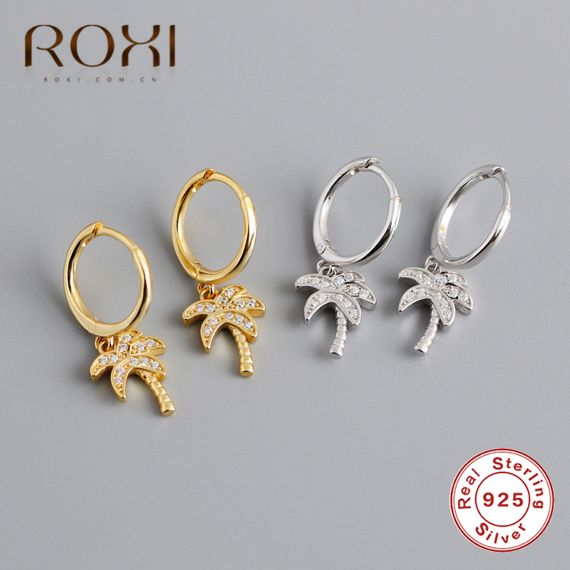 ROXI Fashion Women Coconut Palm Tree Earrings 925 Sterling Silver CZ Plant Pendant Stud Earrings Summer Holiday Hawaii Jewelry