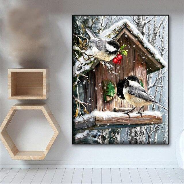 Broderie point de croix – oiseaux (différents modèles) 40x50cm 2