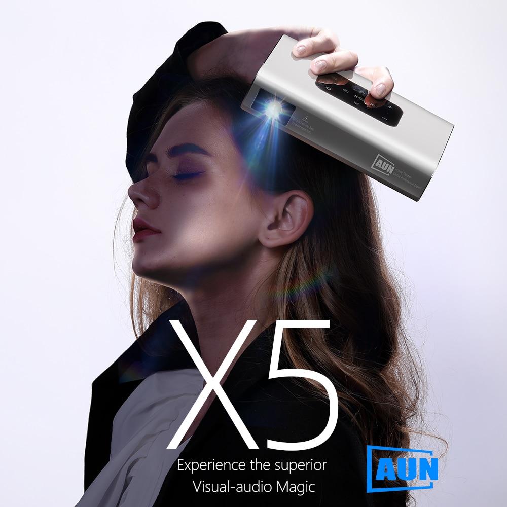 Aun projetor x5 4k android wifi 3d 10500mah bateria 300 polegada 1080p dlp mini portátil vedio projetor smart tv laser beamer hdmi-2