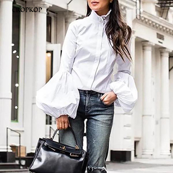 Blouse Plus Size Elegant Women Fashion Autumn Casual Solid Lantern Long Sleeve Office Button Tops Shirt 2020 Streetwear 1