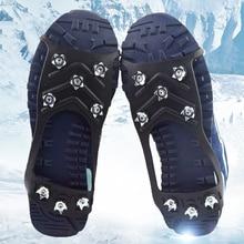 1 Pair Climbing Ice Crampon Gripper 8 Studs Anti-Skid Ice Snow Camping Cleats Non-slip Black Walking Shoes For Women Men M/L