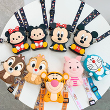 Disney Mickey Mouse Bag Silicone Coin Purse Children Bags Cartoon Winnie The Pooh Piglet Anime Tiger Kids Backpack Gifts